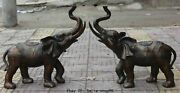 28chinese Copper Rich Money Wealth Elephant Lucky Auspicious Animal Statue Pair