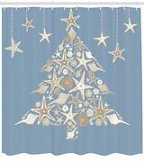 Ambesonne Christmas Shower Curtain Nautical Elements Sea Life Theme With Noel T