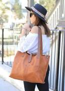 Large Genuine Leather Cross Tote Bag Women Messenger Tote With Front Pockets