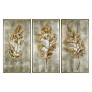 40.63 Inch Modern Art Set Of 3  Burnished Champagne/hand Painted Finish -