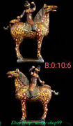 23 Old Chinese Tang Sancai Painting Pottery People Ride Horse Statue Pair