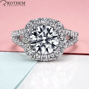 8000 2.03 Ct Engagement Halo Diamond Ring With White Gold 18k I2 F 47053378