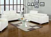 Contemporary Sofa And Loveseat White Bonded Leather Cushion Couch 2p Set Home