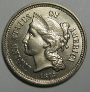 1873 Open 3 Three Cent Nickel - One Mark Away From Gem Brilliant Uncirculated