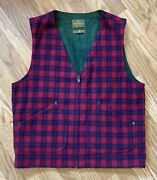 Vintage Evergreen Outerwear Vest 100 Lambswool Size Large, Red