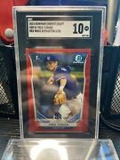2014 Bowman Chrome Draft Trea Turner Red Wave Refractor /25 Rookie Rc 1st Sgc 10