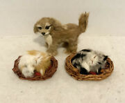 Vintage Miniature Cats And Dog Figurines Realistic Made With Real Animal Fur