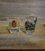 Vintage Amsterdam And Holland Souvenir Shot Glasses Gold Rims New Condition