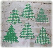 6 Vintage Chenille Bedspread Cutter Quilt Appliques Cabin Craft Tree Cut Outs