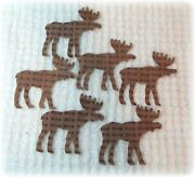 6 Vintage Chenille Bedspread Cutter Quilt Appliques Brown Woodland Moose Cut Out