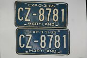 2 Matching Vintage Maryland License Plates 1965 Cz-8781 August 7 1981 Nice