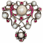 Um 1760 Antique Brooch/pendant With Pearls And Rubies In Gold And Silver, Rococo