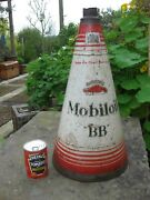 Mobiloil Bb Large Vintage Oil Can Conical Gargoyle 2 1/2 Gall. / 53 Cm
