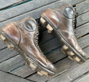 Awesome Old Antique 1900's All Leather Football Vintage Stacked Wooden Cleats