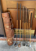 Antique Hickory Wood Shaft Butchart Nicholls Golf Clubs And All Leather Carry Bag