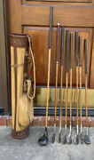 Antique Hickory Wood Shaft Golf Clubs And Troxel Canvas And Leather Stovepipe Bag