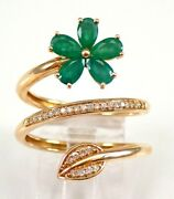 0.90ct Natural Round Diamond 14k Solid Yellow Gold Emerald Cluster Ring Size 7