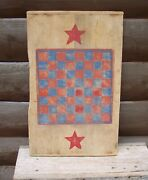 Primitive Game Board Folk Art Painted On Large Antique Cutting Or Bread Board