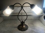 Nice Vintage Antique Double Goose Neck Table Lamp Hand Reverse Painted Shades