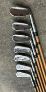Set Of 7 Antique Hickory St Andrews Golf Co Maxwell Rustless Stag Flanged Irons