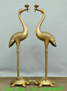 100cm China Pure Bronze Turtle Red-crowned Crane Candle Holder Candlestick Pair