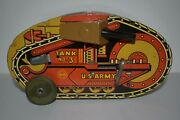 Vintage Marx Us Army Turnover Tank Corps No 3 Tin Litho Wind Up Toy