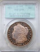 1881 Pcgs Ms61 Dmpl Ogh Toned Udm Morgan Silver Dollar An Omg Coin