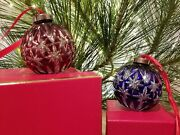 Waterford Cut To Clear Cased Ruby And Cobalt Crystal Ball Christmas Ornaments