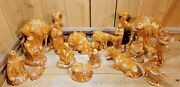 Vintage Holland Mold Large Ceramic Nativity Set Hand Painted 17 Pieces 1960s-70s