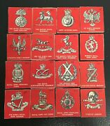 100+ Different British Military Cap Badge Photos Identification On Wooden Tiles