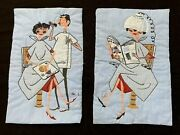 Set 2 Vintage Hair Beauty Salon Art Wall Hangings 1940andrsquos Embroidered Fabric Ooak