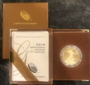 Gold American Eagle 2014 1 Oz Ounce 50 Proof Coin Rare Uncirculated W/ Booklet