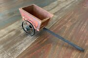 Vintage Antique Wooden Toy Coal Wagon Cart Metal Spokes And Wheels