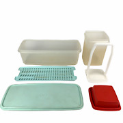 Vintage Tupperware Lot Of 2 Pick-a-deli Pickle 1560-5 Red And Celery Keeper 782-5