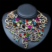 Women Bridal Multicolor Crystal Bib Necklace Earrings Wedding Party Jewelry Sets