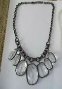 Faceted Clear Glass Bib Black Chain Necklace