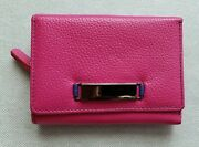 Danier Pink Pebbled Leather Bifold Wallet With Front Decoration.