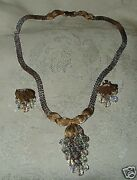 Vintage 1950s Hollywood Regency Aurora Crystal Cluster Necklace And Clip Earrings