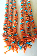 26 Santo Domingo Coral/turquoise 3 Strand Necklace Native American Collectible