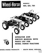 Wheel Horse Tractor Operationservice And Parts Manual Models 401 And 551 And 701