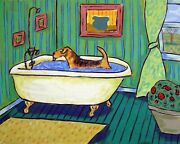 Airedale Terrier Taking A Bath Dog Art Print 8x10 Green Background Gift