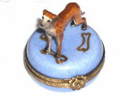 Limoges Porcelain Hand Painted Brown Great Dane On Blue Round Trinket Box