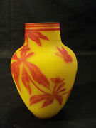 Rare Signed Thomas Webb 2-color English Cameo Art Glass 6.5 Vase Butterfly