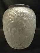 Lalique Mid-century Frosted Crystal Biches Deer 6.5 Vase 1