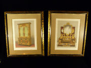 Incredible Pair Of 19th Century Furniture Exhibition Chromolithograph Prints
