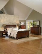 Brown Cherry Finish Sleigh King Bed Online Wood Bedroom Furniture Set