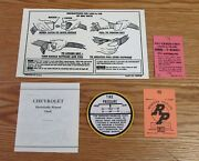 1957 Chevy New Car Dash Information Literature Set + Tire Inflaction Decal Usa
