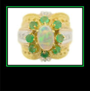 Ladies 18k Two Toned Gold Opal Emerald And Diamond Dinner Cocktail Fashion Ring