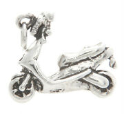 Sterling Silver 3d Moped - Low Powered Motorized Style Scooter - Motorcyclecharm