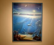 Dolphins Shipwreck Futuristic Original Painting By Claus Andersen